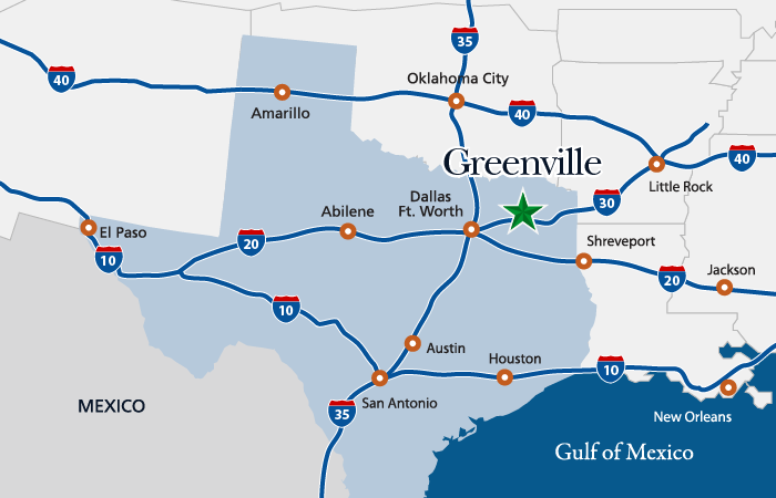 Greenville Texas Map State Level Map | Greenville Economic Development